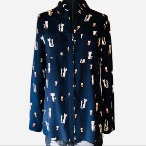 zeagoo artsy cat blouse.
